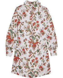 Pintucked Floral-print Chiffon Mini Dress