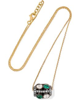 Rajasthan 18-karat Gold, Sterling Silver, Emerald And Diamond Necklace