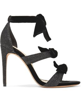 Mary Bow-embellished Lurex And Velvet Sandals
