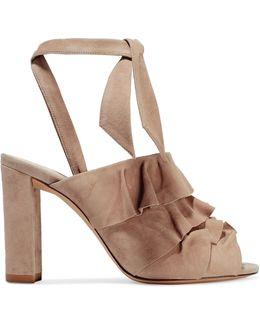 Barbara Ruffled Suede Sandals