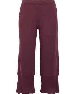 Gauze-trimmed Pima Cotton-jersey Pajama Pants