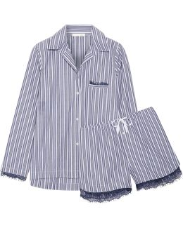 Lace-trimmed Striped Cotton Pajama Set