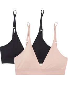 Hadlee Set Of Two Stretch Organic Pima Cotton-jersey Soft-cup Bras
