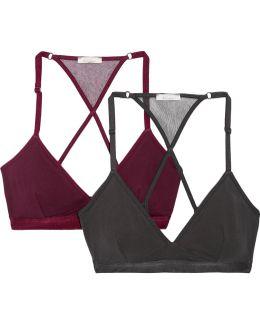 Corinna Set Of Two Stretch Organic Pima Cotton-jersey Soft-cup Bras