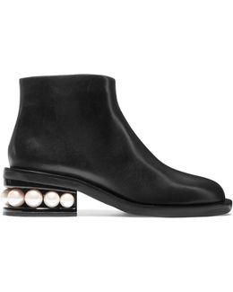 Casati Faux Pearl-embellished Leather Boots