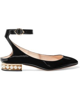 Lola Embellished Patent-leather Ballet Flats