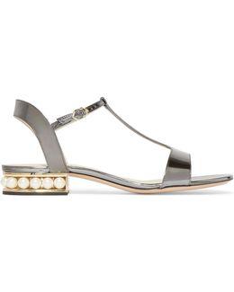 Casati Embellished Metallic Patent-leather Sandals
