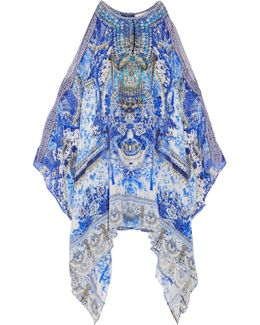 Chinese Whispers Embellished Printed Silk Crepe De Chine Kaftan