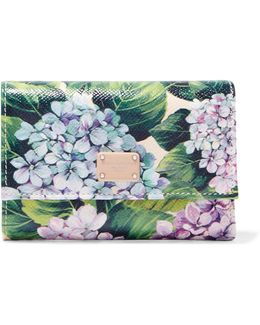 Floral-print Textured-leather Wallet