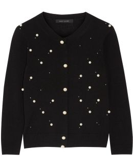 Faux Pearl-embellished Merino Wool And Cashmere-blend Cardigan