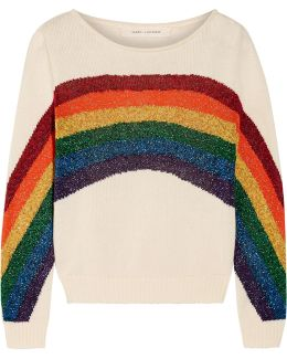 Metallic Intarsia Cotton Sweater