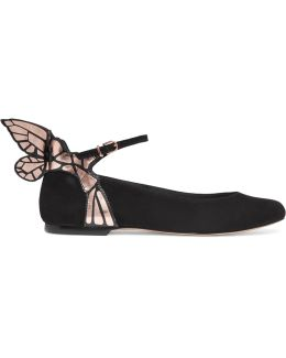 Chiara Metallic Leather-trimmed Suede Ballet Flats