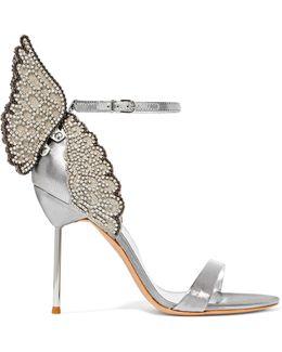 Evangeline Crystal-embellished Lamé Sandals