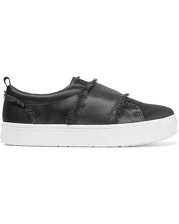 Levine Frayed Satin Slip-on Sneakers