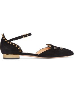 Mid-century Kitty Studded Embroidered Suede Point-toe Flats