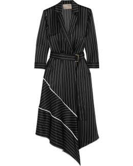Asymmetric Striped Silk-charmeuse Midi Dress