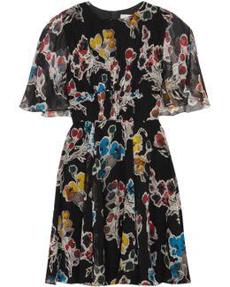 Floral-print Silk-crepon Mini Dress