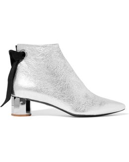 Suede-trimmed Metallic Textured-leather Ankle Boots