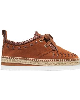 Leather-trimmed Suede Espadrille Platform Sneakers
