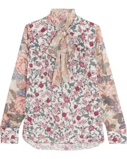Pussy-bow Floral-print Chiffon And Silk-georgette Blouse
