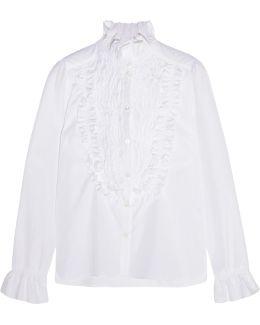 Ruffle-trimmed Smocked Cotton-poplin Shirt