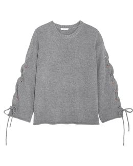 Oversized Lace-up Knitted Sweater