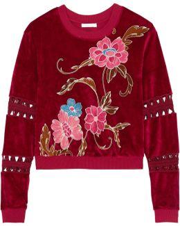 Embroidered Velvet Sweatshirt