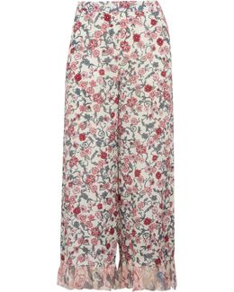 Cropped Ruffled Floral-print Crepe De Chine Wide-leg Pants
