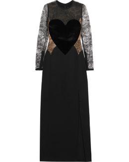 Velvet-appliquéd Lace And Crepe Gown