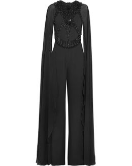 Embellished Crepe And Chiffon Jumpsuit