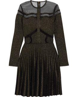 Metallic Stretch-knit And Tulle Mini Dress