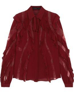 Lace-trimmed Ruffled Silk-blend Crepe De Chine Blouse