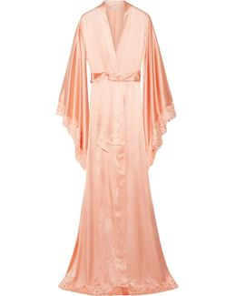 Azalea Leavers Lace-trimmed Satin Robe