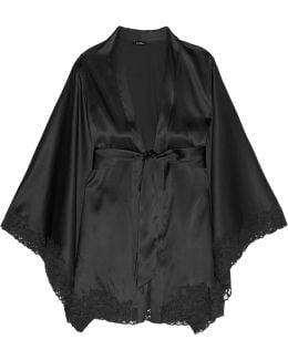 Azalea Leavers Lace-trimmed Stretch-silk Robe