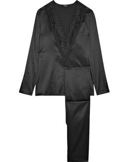 Azalea Leavers Lace-trimmed Stretch-silk Pajama Set