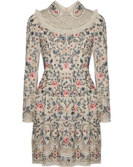 Whisper Tulle-trimmed Embellished Chiffon Mini Dress