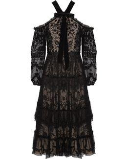 Primrose Cold-shoulder Embroidered Tulle Midi Dress