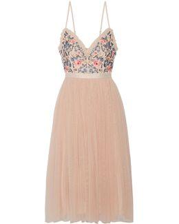 Whisper Open-back Embellished Chiffon And Tulle Midi Dress