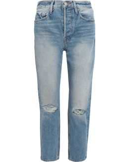 Rigid Re-release Le Original Distressed High-rise Straight-leg Jeans