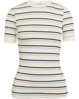 Striped Ribbed Stretch-jersey T-shirt