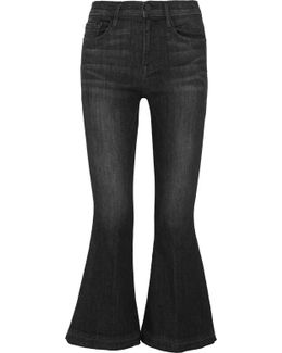 Le Crop Bell Frayed Mid-rise Flared Jeans