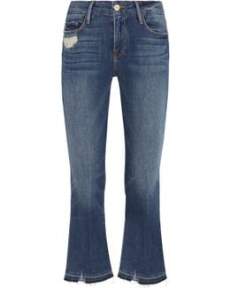 Le Crop Mini Boot Distressed Mid-rise Flared Jeans