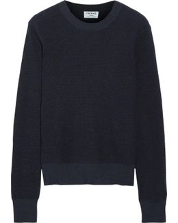 Waffle-knit Cotton And Cashmere-blend Sweater