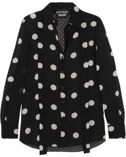 Polka-dot Silk-chiffon Shirt
