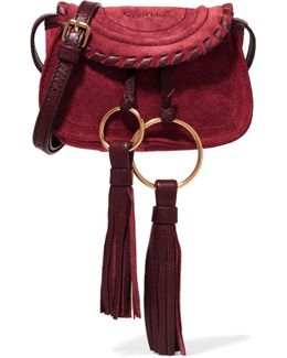 Polly Mini Leather-trimmed Tasseled Suede Shoulder Bag