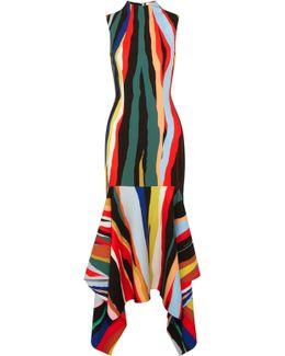 Klara Asymmetric Striped Crepe Maxi Dress
