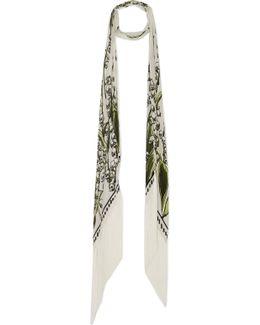 Fringed Printed Silk Crepe De Chine Scarf
