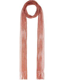 Metallic Fringed Crochet-knit Scarf