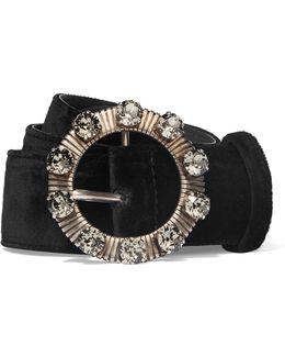 Crystal-embellished Velvet Waist Belt