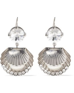 Silver-tone, Swarovski Crystal And Faux Pearl Earrings